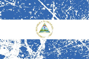 Illustration of a decayted flag of Nicaragua