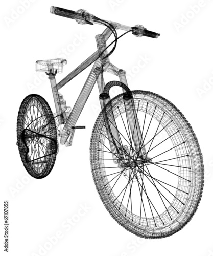 rower-jako-obiekt-drutu-ramki-3d-izolowane