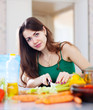 woman cuts green celery at  kitchen