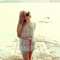 beautiful girl hipster enjoying the fabulous nature