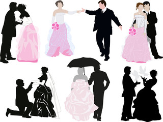 six wedding couples isolated on white