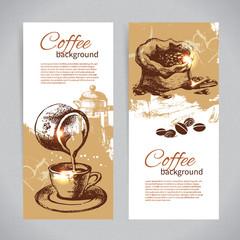 Banner set of vintage coffee backgrounds. Menu for restaurant