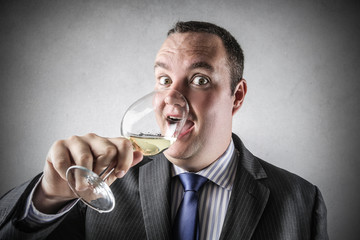 enjoying a glass of good wine