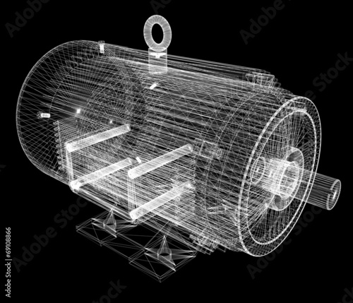 Leinwanddruck Bild 3d-model of an electric motor