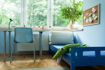 Interior of blue boy room