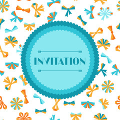 Invitation card with abstract various bows and ribbons.