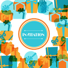 Invitation background or card with colorful gift boxes.