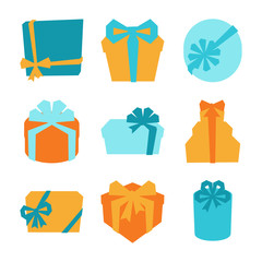 Celebration icon set of colorful gift boxes.