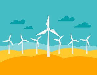 Illustration of wind energy power plant in flat style.