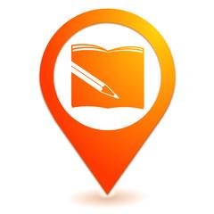 fourniture scolaire sur symbole localisation orange