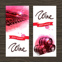 Banners of wine vintage background.