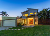Modern home at dusk - 69110246