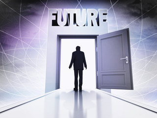 walking person to explore future behind magic doorway background