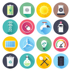 Energy resources illustrations icons set