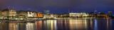 Evening panorama of Hamburg from Alster lake