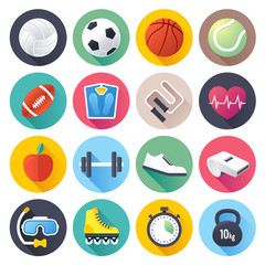 Sports and fitness icons set.