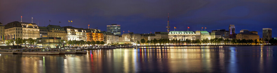 Evening panorama of Hamburg from Alster lake