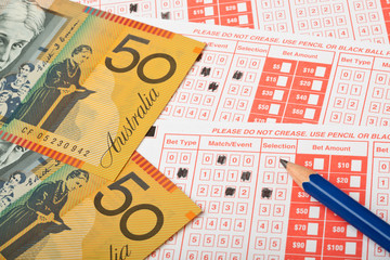 Australian money and sports betting slip