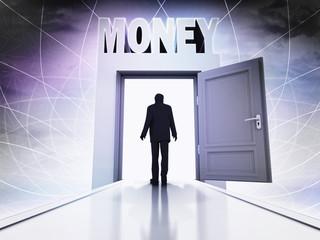 walking person to make money in magic doorway background