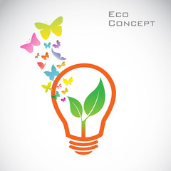 Vector bulb and orange butterflies and leaves. eco concept
