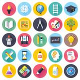 Fototapety Flat education icons set.