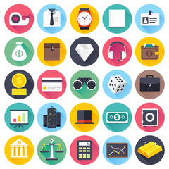 Flat business and finance icon set