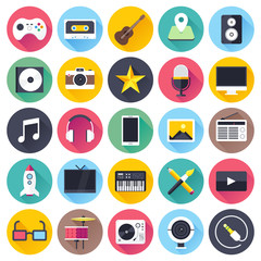 Multimedia, video and audio circle icon set.