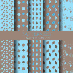 blue and brown nature pattern set