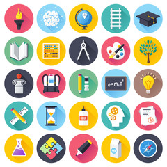 Flat education icons set.