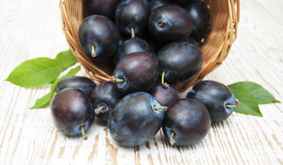 Fresh purple plums