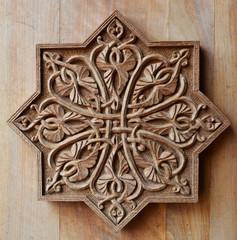 Ornament on wooden door