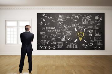 Geschäftsmann vor umfangreichem Business-Plan