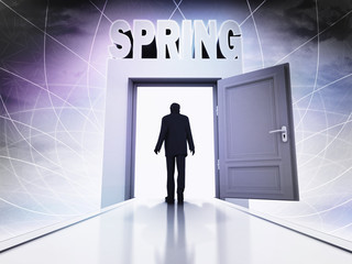walking person to spring season through magic doorway background
