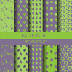 light green and brown nature pattern set