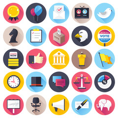 Election and voting illustrations icons set.