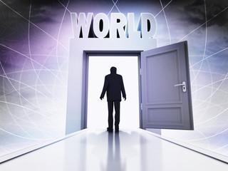 walking person to explore world behind magic doorway background