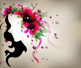 abstract design lady shadow with pink lily flower.