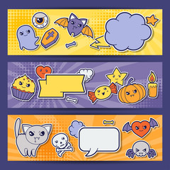 Halloween kawaii horizontal banners with cute doodles.
