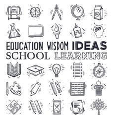 Doodle education and learning icon set