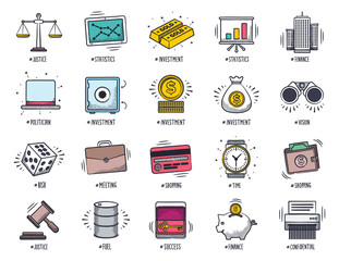 Doodle business and finance icon set.