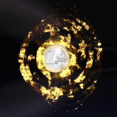 Burning Euro Coin