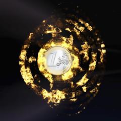 Burning Euro Coin