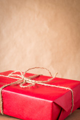 Close up picture of christmas festive gift box.