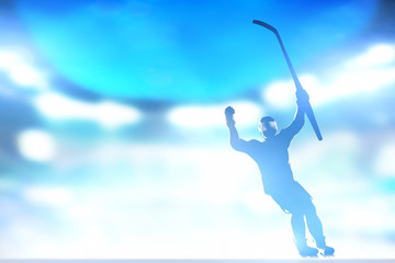 Hockey player celebrating goal, victory with hands and stick up