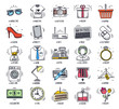 Doodle retail and shopping icon set