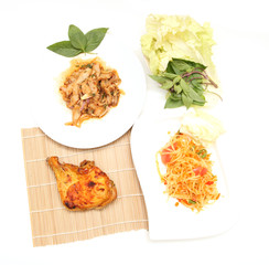 cuisine spicy pork salad papaya salad roast chicken isolated on