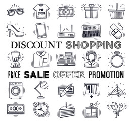 Retail and shopping icon set