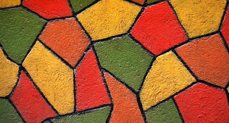 Mosaique colorée en Crépi
