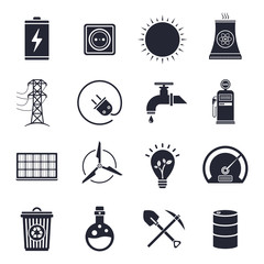 Energy and electricity illustrations icon set.