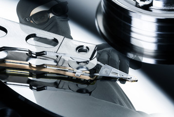 Harddisk mit Einbrecher Spiegelung